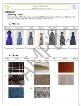 Shopping B: Describing clothing with patterns, fabrics, an