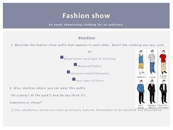 Shopping B: Fashion Show vocabulary and speaking activity (PowerPoint)