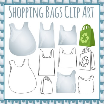 Shopping Bags Plastic Bags Recycling Clip Art Pack for Commercial Use