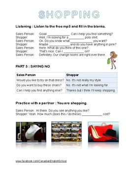 Shopping ESL Worksheet