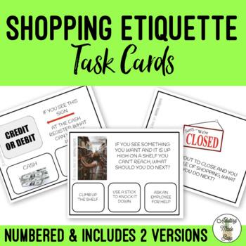 Shopping Etiquette Task Cards Behavior & Social Skills in the Community