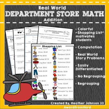 Shopping List Math Addition: Money Real World Application