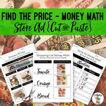 Shopping List Money Math {Cut & Paste}