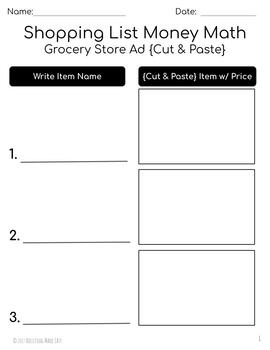 Shopping List Money Math {Cut & Paste} - Life Skills Weekly Circular Store Ad