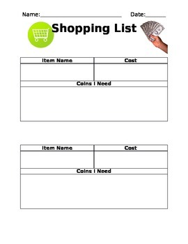 Shopping List - Money and Making Coin Amounts
