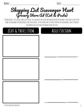 Shopping List Scavenger Hunt {Cut & Paste} Activity