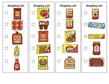 Shopping List Work Task for Special Education