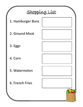 Shopping List by Grocery Store Section