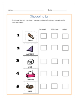 Shopping List with Self-Assessment