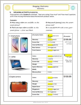 Shopping: Purchasing Electronics with Noun Count Practice (Pairs)