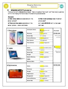 Shopping: Purchasing Electronics (STUDENT B)