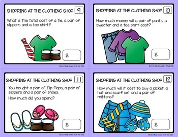 Shopping Worksheets and Task Card Bundle