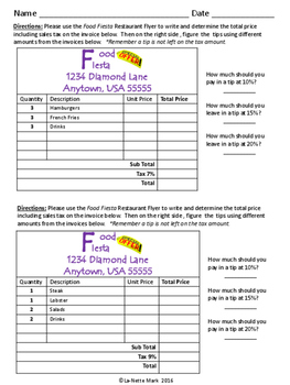 Shopping Spree II - Sales Tax and Tips Math Review
