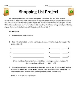 Shopping Spree Project: Calculating Percent Discounts by Multiplying Decimals
