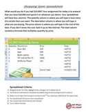 Shopping Spree Spreadsheet