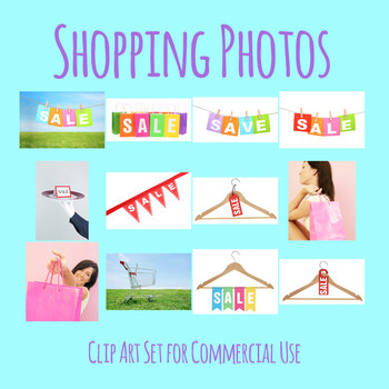 Shopping Theme Photos / Photograph Clip Art Set Commercial Use