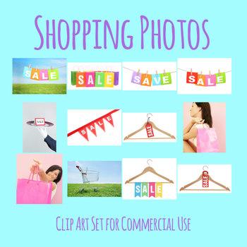 Shopping Theme Photos / Photograph Clip Art Set Commercial Use