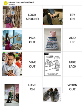Shopping: Travel Phrasal Verbs Matching Cards