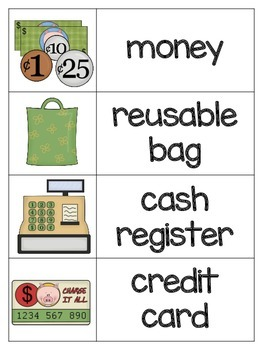 Shopping Vocabulary Picture Cards