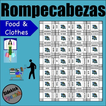 Shopping Vocabulary Puzzle (food and clothes) / De Compras Puzzle Activity