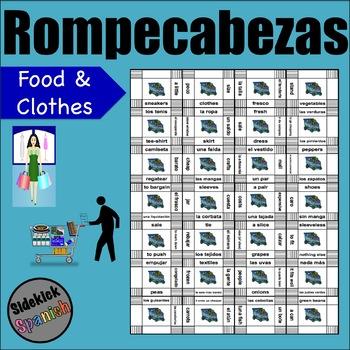 Shopping Vocabulary Puzzle (food and clothes) / De Compras