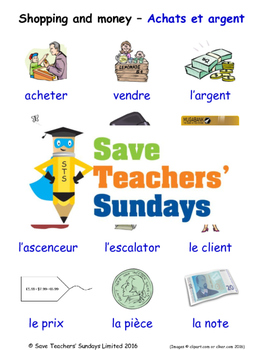 Shopping and Money in French Worksheets, Games, Activities and Flash Cards