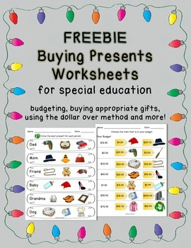 FREEBIE Shopping for Christmas Presents - Worksheets for Special ...