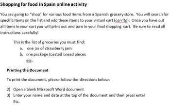 Shopping for Food in Spain online activity for Beginning Spanish