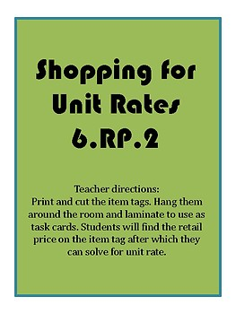 Shopping for Unit Rates 6.RP.2
