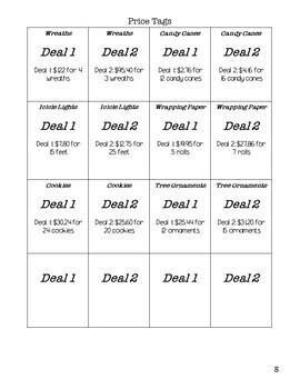 Shopping for the Deal - A Middle School Math Unit Rate Activity (WINTER EDITION)