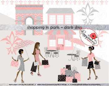 Shopping in Paris Dark Skin Fashionistas Clipart by Poppydreamz