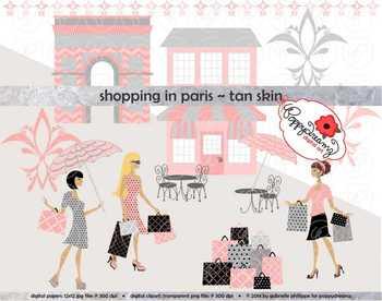 Shopping in Paris Tan Skin Fashionistas Clipart by Poppydreamz