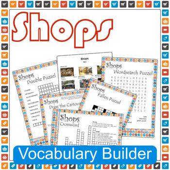 Shops ESL / EFL Vocabulary Builder - English+Chinese