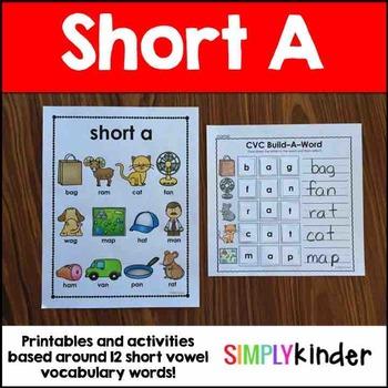 Short A Word Work Activities