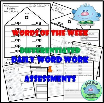 WORD FAMILY CVC WORD WORK Short A AP and AG Activities Assessments