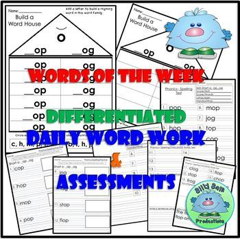 Short O OP and OG Spelling Phonics INTERACTIVE NOTEBOOK WORD WORK ASSESSMENTS