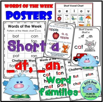 Short A AT and AN Spelling Phonics INTERACTIVE NOTEBOOK WORD WORK ASSESSMENTS