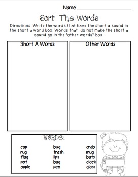 Short A Activity Pack