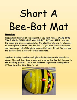 Short A Bee-Bot Mat