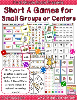 Short A (CVC) Games for Small Groups or Centers (10 games + recording sheets)