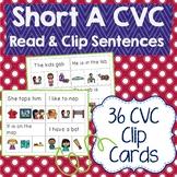 Short A CVC Sentences Read & Clip Cards
