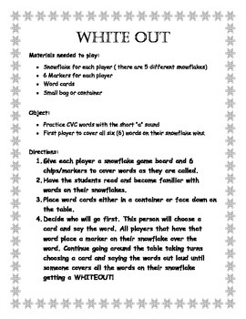 Short A Words CVC White Out Snowflake Game