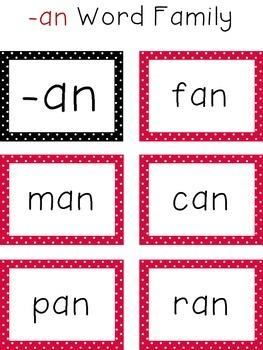 Short A CVC Word Family Cards