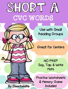 Short A CVC Word Mats, Worksheets and More!