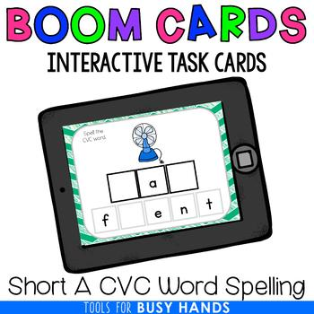 Short A CVC Word Spelling Interactive Digital Task Cards (Boom! Deck)