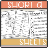 Short A CVC words: Worksheets- Spinner, Roll and Read, Practice Sheet
