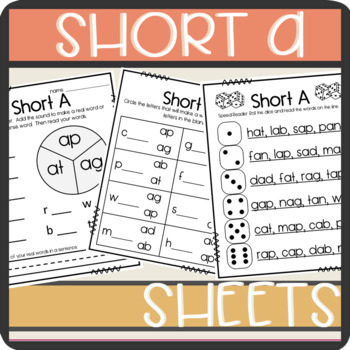 Short A CVC words: Worksheets- Spinner, Roll and Read, Pra