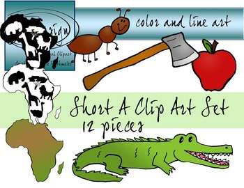 Short A Clip Art Set - Color and Line Art 12 pc set