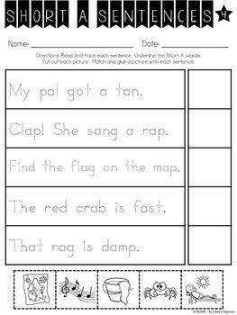 Short A Decodable Sentences {Read. Trace. Cut. Glue.} Printables