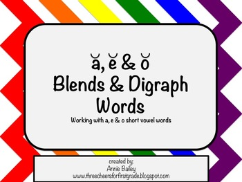 Short A, E & O Blends and Digraphs Word Study Sort and Activities